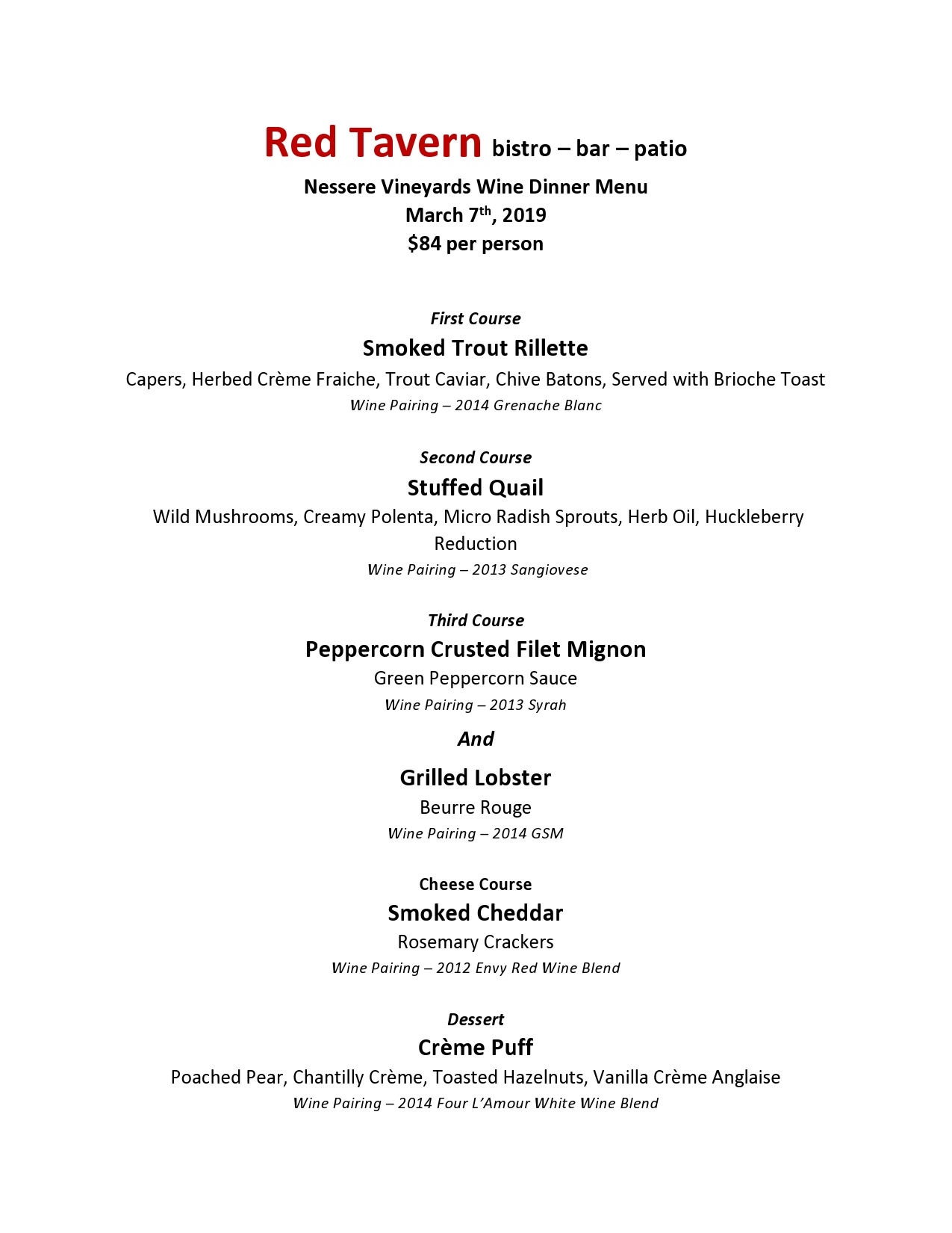 Red Tavern upcoming event: Nessere Wine Dinner – March 7th