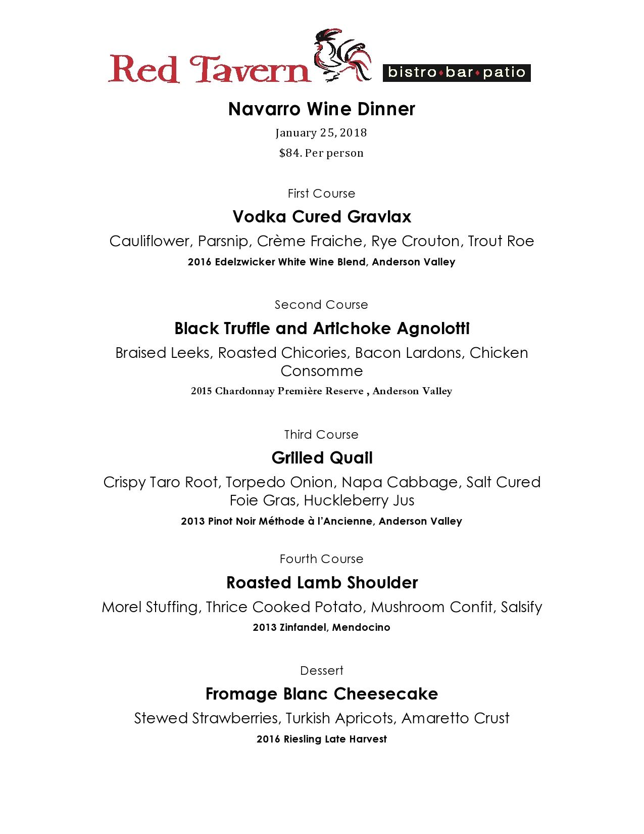 Red Tavern upcoming event: Navarro Vineyards Wine Dinner – January 25, 2018