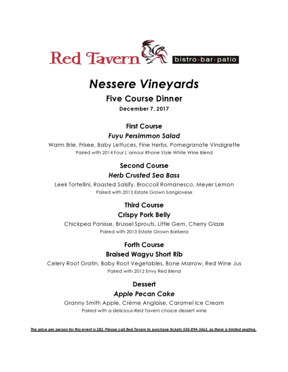 Red Tavern upcoming event: Nessere Vineyards Wine Maker's Dinner – December 7th, 2017