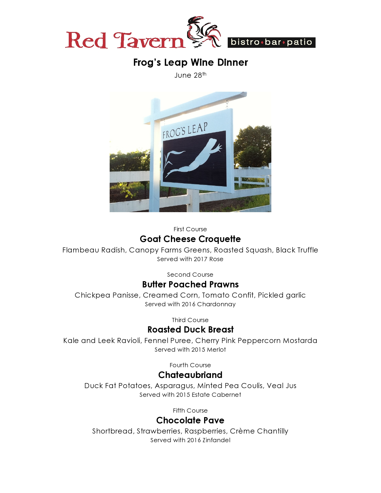 Red Tavern upcoming event: Frog's Leap Wine Dinner – June 28, 2018