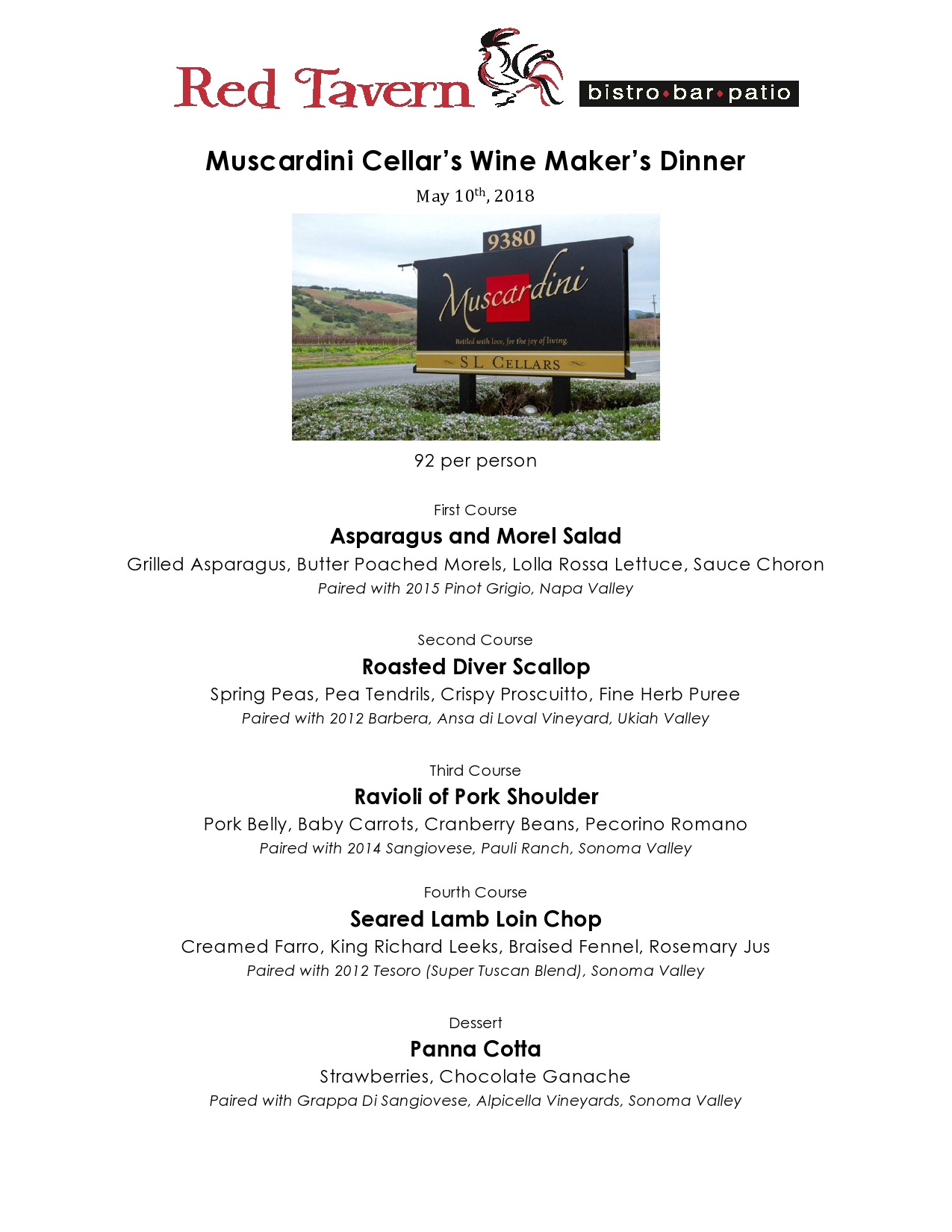 Red Tavern upcoming event: Muscardini Wine Maker's Dinner – May 10th