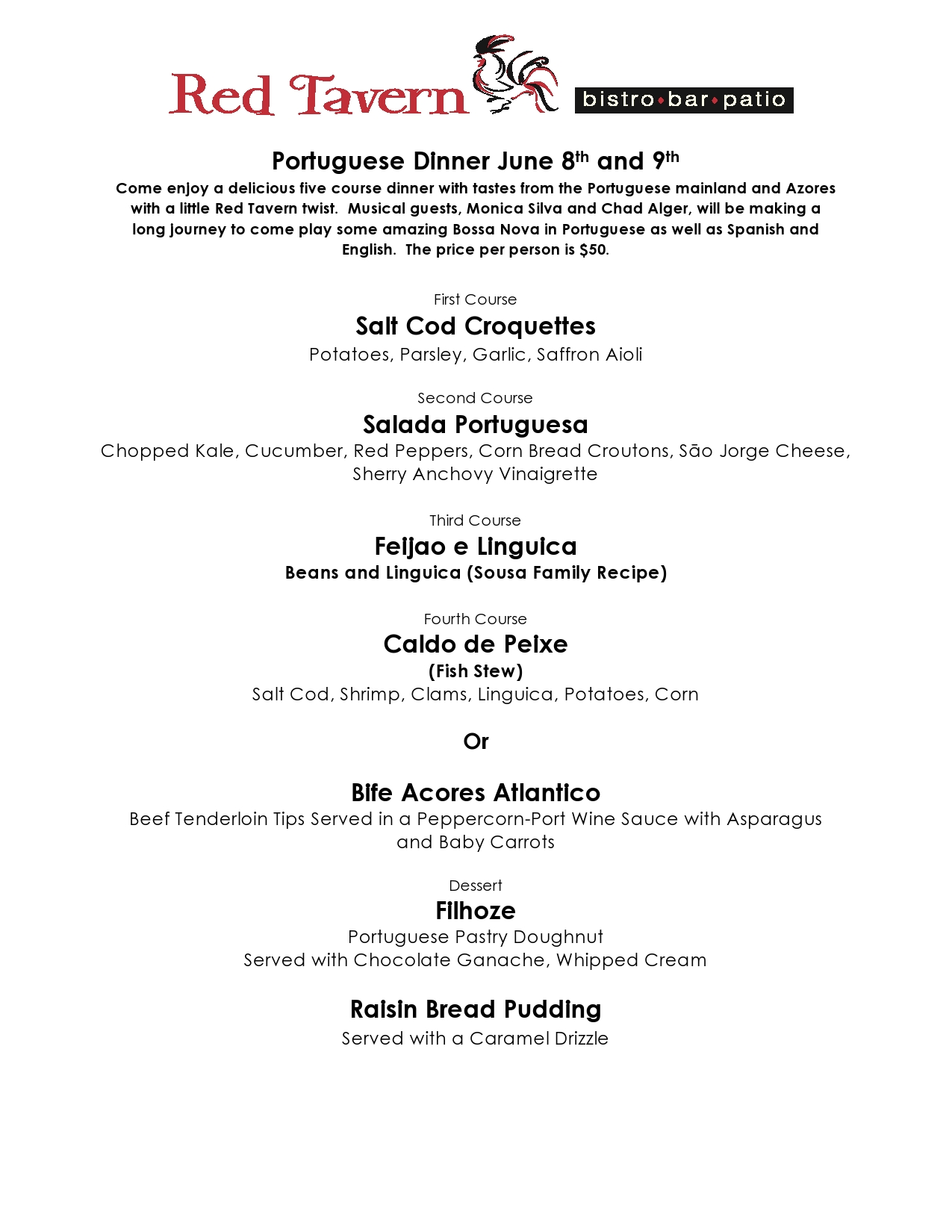 Red Tavern upcoming event: Portuguese Dinner with Live Music – June 8th and 9th, 2018