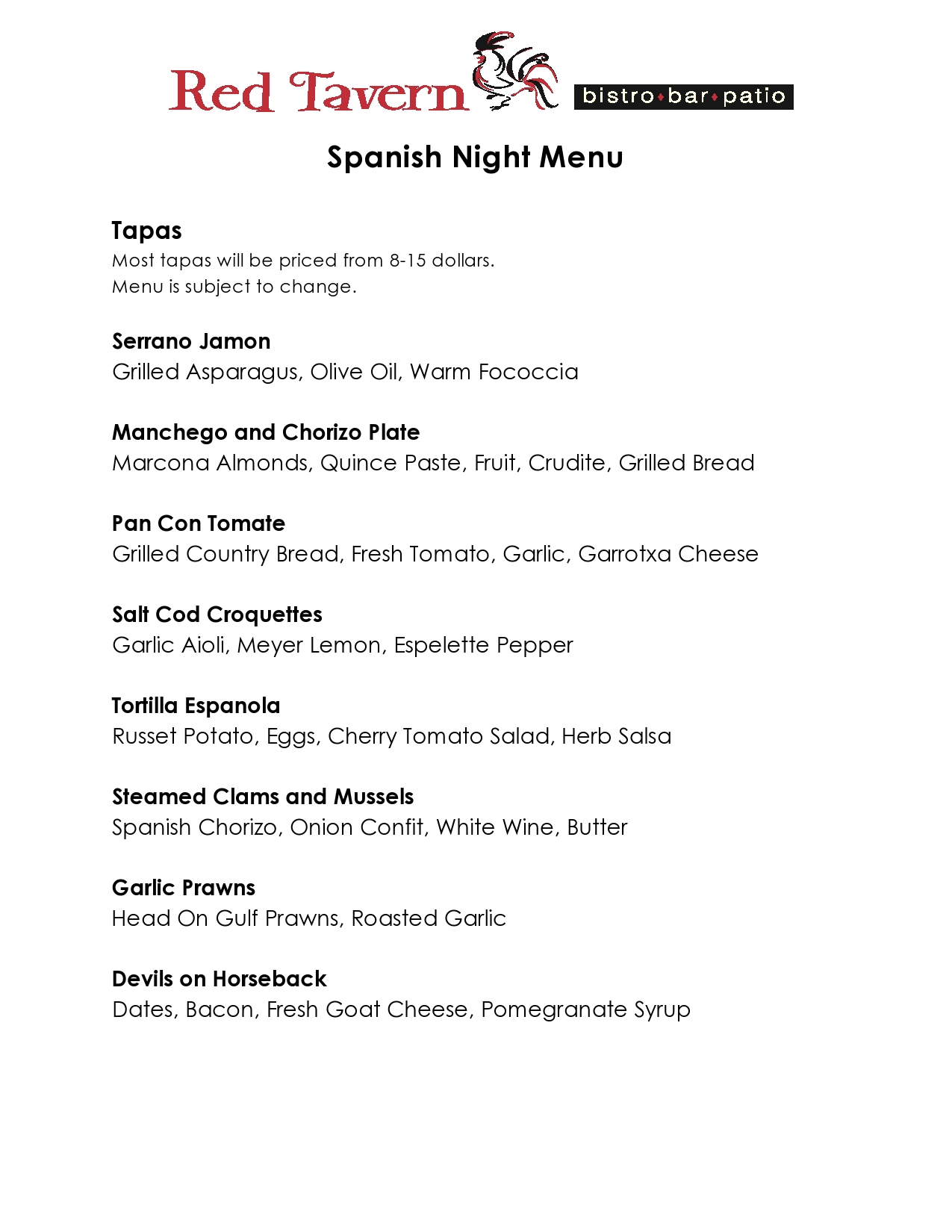 Red Tavern upcoming event: Spanish Flamenco Nights with Tapas