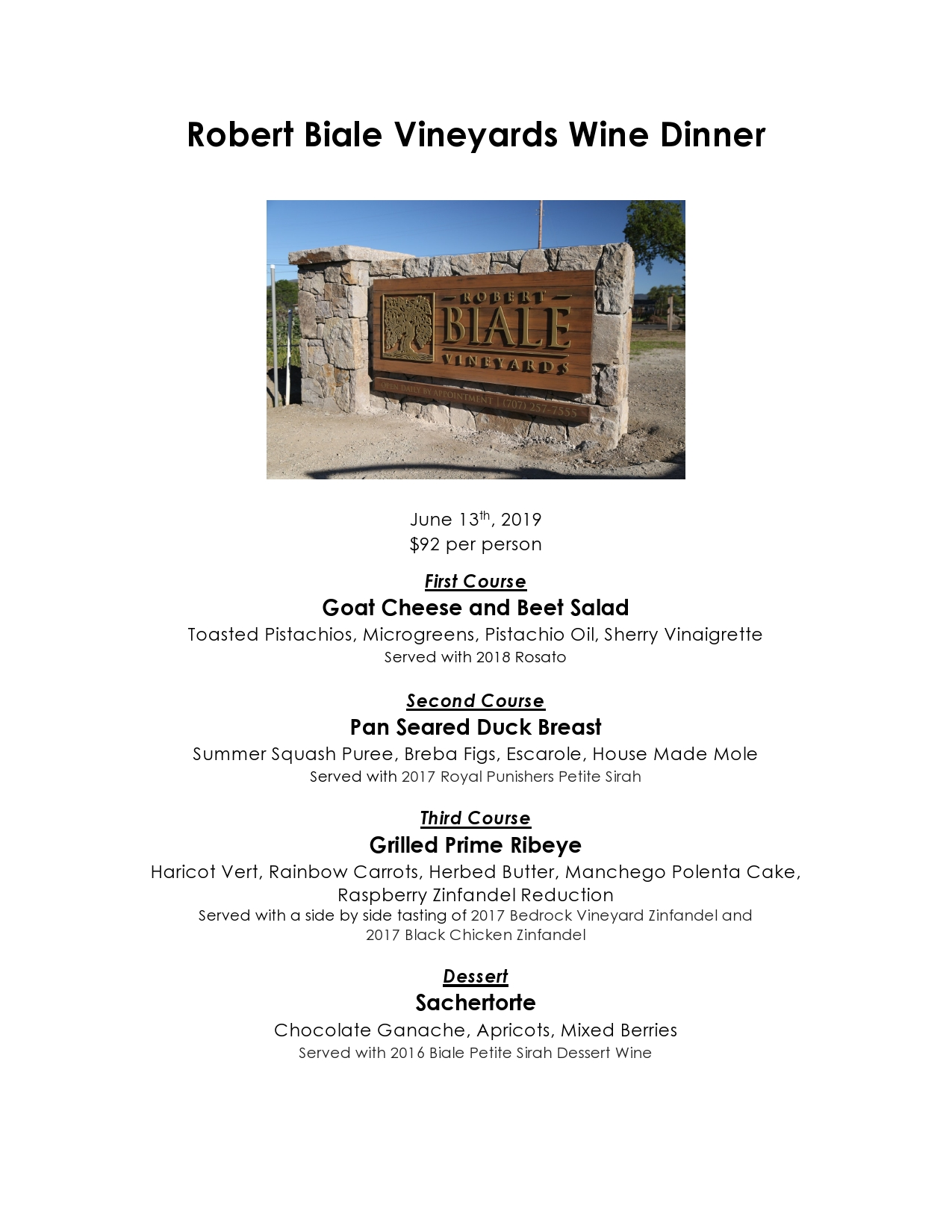 Red Tavern upcoming event: Robert Biale Wine Dinner – June 13th