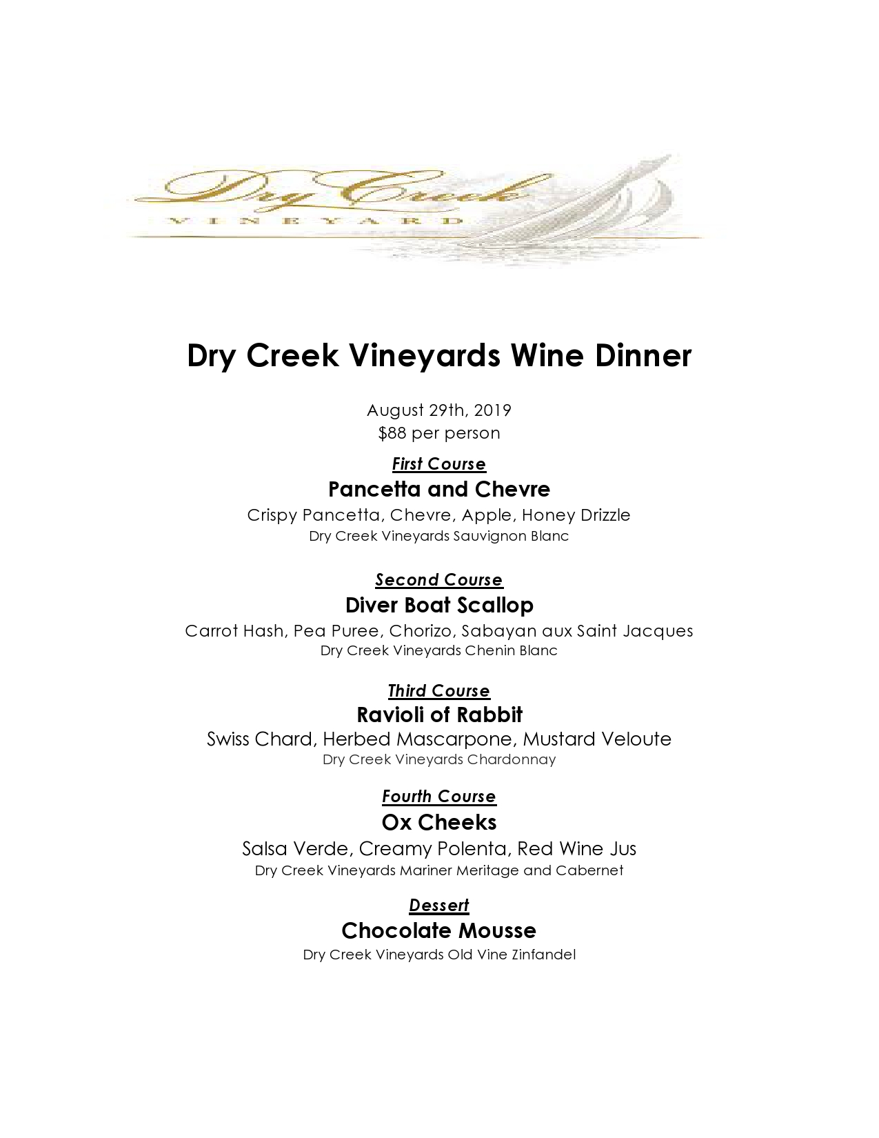 Red Tavern upcoming event: Dry Creek Vineyards Wine Dinner