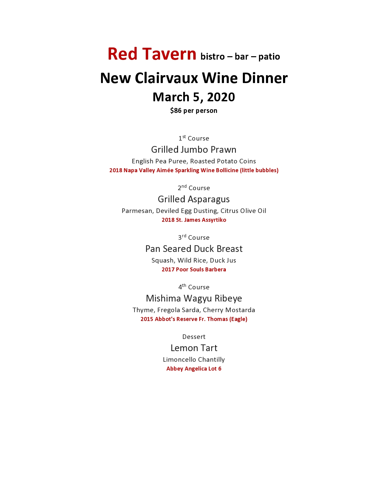 Red Tavern upcoming event: New Clairvaux Wine Maker's Dinner